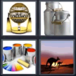 4 fotos 1 palabra latas de pintura