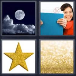 4 fotos 1 palabra luna estrella