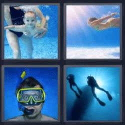 4 fotos 1 palabra bebe bajo el agua