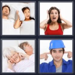 4 Fotos 1 palabra tapándose los oídos