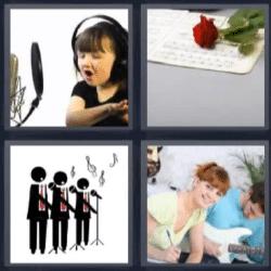 4 fotos 1 palabra coro nina cantando