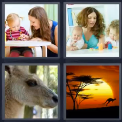 4 fotos 1 palabra canguro niños