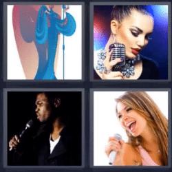 4 fotos 1 palabra micrófono cantando