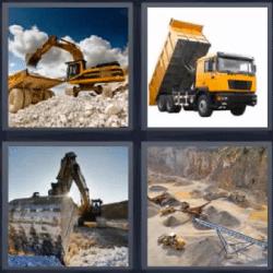 4 fotos 1 palabra retroexcavadora