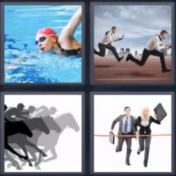 4 fotos 1 palabra persona nadando