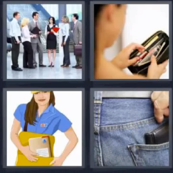 4 fotos 1 palabra billetera en el bolsillo