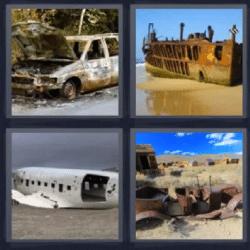 4 fotos 1 palabra barco oxidado