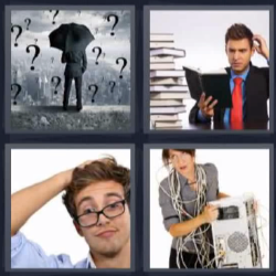 4 fotos 1 palabra paraguas interrogantes