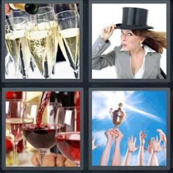 4 fotos 1 palabra mujer con sombrero