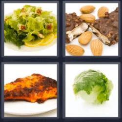 4 fotos 1 palabra almendras ensalada