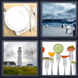 4 fotos 1 palabra faro plato tenedores