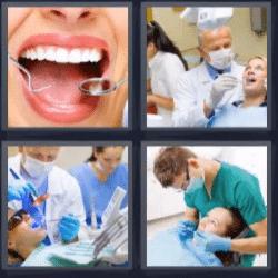 4 fotos 1 palabra boca abierta
