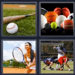 4 fotos 1 palabra bate de beisbol