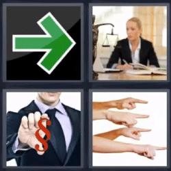 4 fotos 1 palabra flecha verde