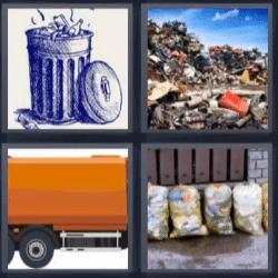4 fotos 1 palabra basura basurero