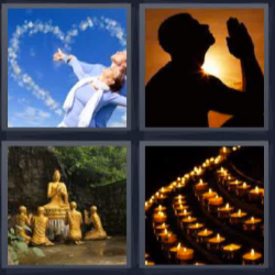 4 fotos 1 palabra hombre meditando