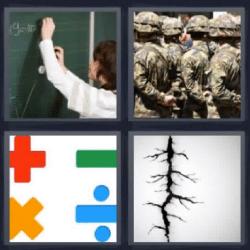 4 fotos 1 palabra signos matemáticos soldados