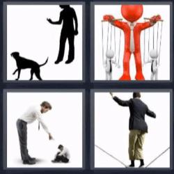 4 fotos 1 palabra mujer y perro marionetas