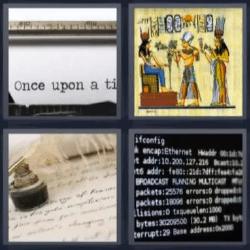 4 fotos 1 palabra papiro maquina de escribir