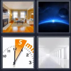 4 fotos 1 palabra reloj casa
