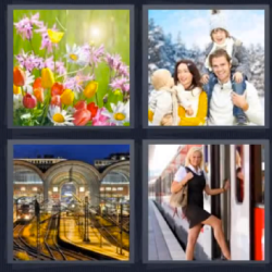 4 fotos 1 palabra flores familia tren