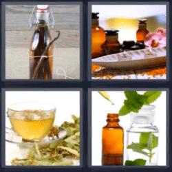 4 fotos 1 palabra botellas con hierbas