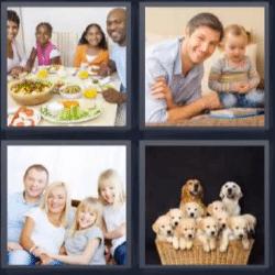 4 fotos 1 palabra comida familiar perros