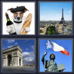 4 fotos 1 palabra perro con pan y vino