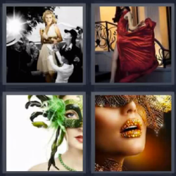 4 fotos 1 palabra mujer vestido rojo mascara