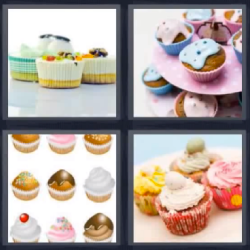 4 fotos 1 palabra cupcake