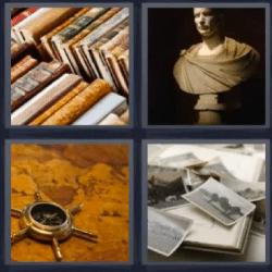 4 fotos 1 palabra libros fotos brújula
