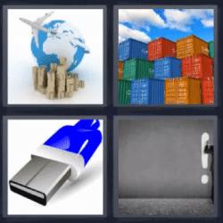 4 fotos 1 palabra contenedores usb avión