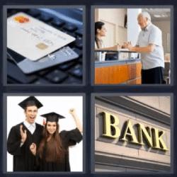 4 fotos 1 palabra tarjetas banco graduados