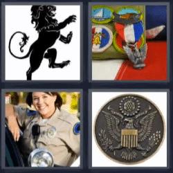 4 fotos 1 palabra león escudo