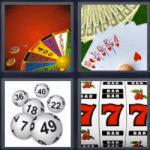 4 fotos 1 palabra cartas ruleta bolas