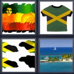 4 fotos 1 palabra bandera verde amarilla roja