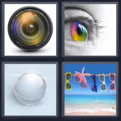 4 fotos 1 palabra lentes de sol