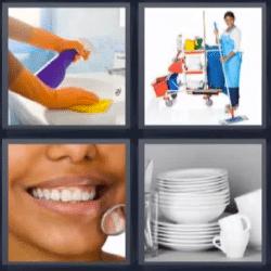 4 fotos 1 palabra vajilla limpieza