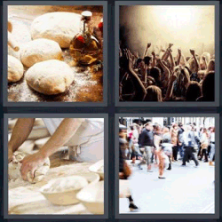 4 fotos 1 palabra amasando pan