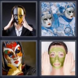 4 fotos 1 palabra disfraz mascarilla