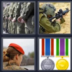 4 fotos 1 palabra ejercito medallas