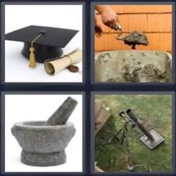 4 fotos 1 palabra gorro de graduacion