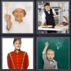 4 fotos 1 palabra nino cocinero botones
