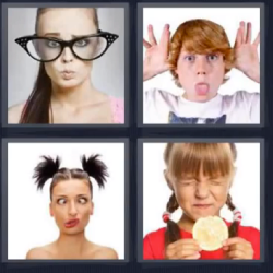 4 fotos 1 palabra chica gafas grandes
