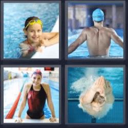 4 fotos 1 palabra nadando