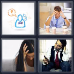 4 fotos 1 palabra manos en la cabeza