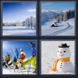 4 fotos 1 palabra bosque invierno