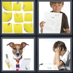 4 fotos 1 palabra perro con lapiz y libreta