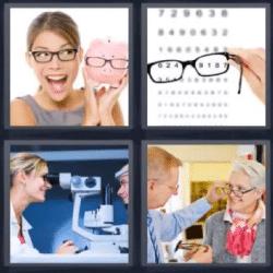 4 fotos 1 palabra lentes graduadas