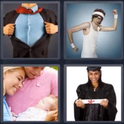 4 fotos 1 palabra bebe graduada